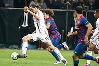 MILANO 28 MARZO 2012, MILAN - BARCELLONA,QUARTI DI FINALE UEFA CHAMPIONS LEAGUE 2011 - 2012, NELLA FOTO: IBRAHIMOVIC - PUYOL , FOTO DI ROBERTO TOGNONI.
