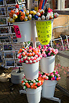 Wooden painted tulips, Delft, Netherlands