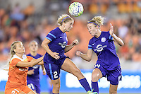 Houston, TX - Saturday Sept. 03, 2016: Melissa Henderson, Camille Levin, Becky Edwards during a regular season National Women's Soccer League (NWSL) match between the Houston Dash and the Orlando Pride at BBVA Compass Stadium.