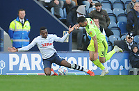 Preston North End's Darnell Fisher is fouled by Sheffield United's Enda Stevens<br /> <br /> Photographer Kevin Barnes/CameraSport<br /> <br /> The EFL Sky Bet Championship - Preston North End v Sheffield United - Saturday 6th April 2019 - Deepdale Stadium - Preston<br /> <br /> World Copyright © 2019 CameraSport. All rights reserved. 43 Linden Ave. Countesthorpe. Leicester. England. LE8 5PG - Tel: +44 (0) 116 277 4147 - admin@camerasport.com - www.camerasport.com
