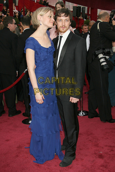 ANNE-MARIE DUFF & JAMES McAVOY.The 80th Annual Academy Awards Arrivals held at the Kodak Theatre, Hollywood, California, USA,.24 February 2008..oscars full length blue dress black suit married couple husband wife.CAP/ADM/RE.?Russ Elliot/Admedia/Capital Pictures