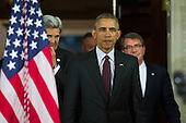 From left to right: United States Secretary of State John Kerry, US President Barack Obama and US Secretary of Defense Ash Carter arrive to make a statement after meeting with his National Security Council at the State Department, February 25, 2016 in Washington, DC. The meeting focused on the situation with ISIS and Syria, along with other regional issues.<br /> Credit: Drew Angerer / Pool via CNP