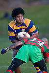 Alepeni Olosoni runs into the tackle of Kelepi Aholelei. Counties Manukau Premier Club Rugby final between Patumahoe & Waiuku played at Bayers Growers Stadium Pukekohe on Saturday August 8th 2009. Patumahoe won 11 - 9 after leading 11 - 6 at halftime.