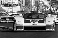 MIAMI, FL - MARCH 2: The Team Zakspeed USA Ford Mustang Probe is driven by Klaus Ludwig and Tom Gloy during the Lowenbrau Grand Prix of Miami IMSA GTP race on the temporary street circuit in Bicentennial Park in Miami, Florida, on March 2, 1986.