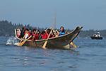 Canoe Journey, Paddle to Nisqually, 2016, Chinook tribal canoes arriving in Olympia, Washington, 7-30-2016, Salish Sea, Puget Sound, Washington State, USA,