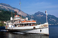 Switzerland, Canton Lucerne, Weggis: paddle steamer UNTERWALDEN