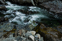 Fast flowing narrow creek between Port Renfrew and Cowichan lake.Vancouver Island, British Columbia, Canada.