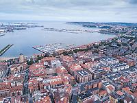 Las Arenas, Getxo, Bilbao, País Vasco, España. Aerial drone photo