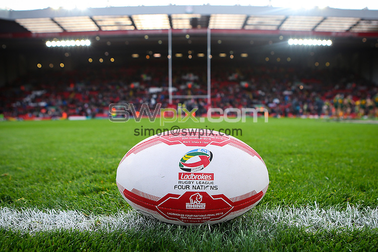 Picture by Alex Whitehead/SWpix.com - 20/11/2016 - Rugby League - Ladbrokes Four Nations Final - Australia v New Zealand - Anfield, Liverpool, England - Ball.