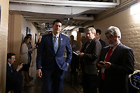Speaker of the House of Representatives Paul Ryan, Republican of Wisconsin, walks to a meeting of United States House of Representatives Republican members in the basement of the United States Capitol Building on June 7, 2018 in Washington, DC. The Republican members are discussing immigration policy changes. <br /> CAP/MPI/RS<br /> &copy;RS/MPI/Capital Pictures