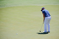 Paul Dunne (IRE) sinks his putt on 12 during Friday's round 2 of the 117th U.S. Open, at Erin Hills, Erin, Wisconsin. 6/16/2017.<br /> Picture: Golffile | Ken Murray<br /> <br /> <br /> All photo usage must carry mandatory copyright credit (&copy; Golffile | Ken Murray)
