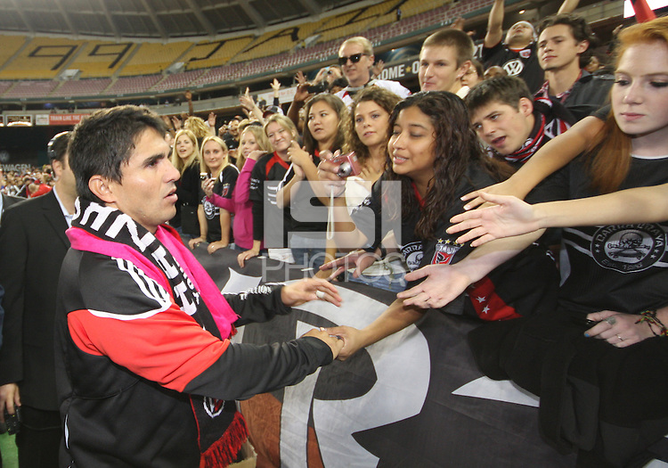Jaime Moreno with fans during festivities surrounding the final appearance of Jaime Moreno in a D.C. United uniform, at RFK Stadium, in Washington D.C. on October 23, 2010. Toronto won 3-2.