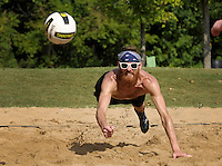 NWA Democrat-Gazette/BEN GOFF &bull; @NWABENGOFF<br /> Zac Trout of Fayetteville dives for a dig on Saturday Aug. 8, 2015 during during the Ozark Volleyball Club's Volley for the Dig tournament at Memorial Park in Bentonville. The informal tournament was to raise donations for Dig 4 Diabetes.