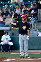 Chaz Frank #18 of the Vancouver Canadians bats against the Eugene Emeralds at PK Park on July 26, 2013 in Eugene, Oregon. Vancouver defeated Eugene, 4-3. (Larry Goren/Four Seam Images)
