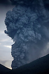 Large ash cloud rising from Tompaluan crater (Kawah Tompaluan) at Lokon-Empung Volcano, Sulawesi, Indonesia.