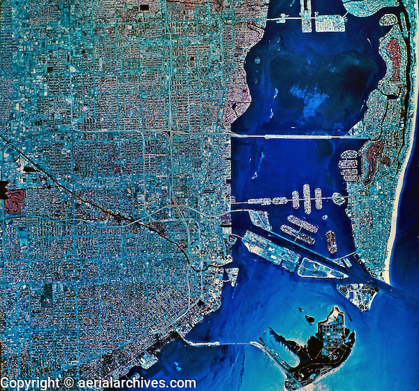historical infrared aerial photograph Miami, Florida, 1984