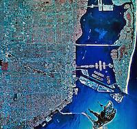 historical infrared aerial photograph Miami, Florida, 1984