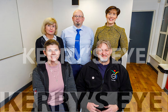 Attending the meeting of Youth Exchanges in the KDYS on Tuesday evening.<br /> Front l to r: Sasha Bongers and Dirk van der Merwe.<br /> Back l to r: Gemma O'Brien (KDYS), Kevin O'Connor and Cllr: Norma Foley.