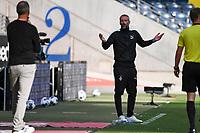 16th May 2020, Commerzbank-Arena, Frankfurt, Germany; Bundesliga football, Eintracht Frankfurt versus Borussia Moenchangladbach; Trainer Marco Rose Borussia Moenchengladbach questions a call from the linesman