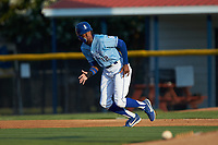 Burle Dixon (12) of the Burlington Royals takes off for second base during the game against the Danville Braves at Burlington Athletic Stadium on August 9, 2019 in Burlington, North Carolina. The Royals defeated the Braves 6-0. (Brian Westerholt/Four Seam Images)