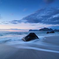 Scenic Myrland beach, Flakstadoy, Lofoten Islands, Norway