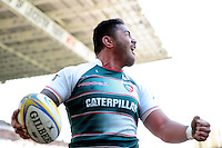Manu Tuilagi of Leicester Tigers celebrates his first try of the match. Aviva Premiership match, between Leicester Tigers and Gloucester Rugby on April 2, 2016 at Welford Road in Leicester, England. Photo by: Patrick Khachfe / JMP