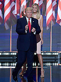 Donald J. Trump arrives to deliver his acceptance speech as the GOP candidate for President of the United States at the 2016 Republican National Convention held at the Quicken Loans Arena in Cleveland, Ohio on Thursday, July 21, 2016.<br /> Credit: Ron Sachs / CNP<br /> (RESTRICTION: NO New York or New Jersey Newspapers or newspapers within a 75 mile radius of New York City)