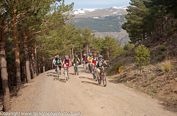 Cycling in the Sierra Nevada Mountains in the High Alpujarras, near Capileira, Granada Province, Spain.