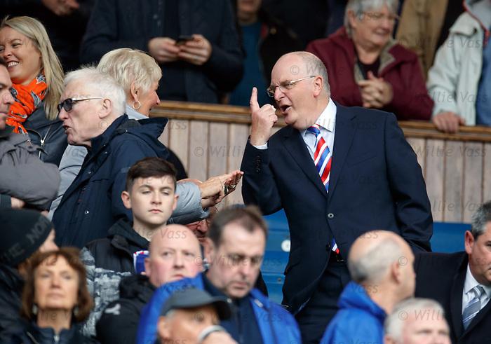 06.10.2019 Rangers v Hamilton: John Gilligan telling Rangers fans next to the directors box that Rangers have regained top spot the the league
