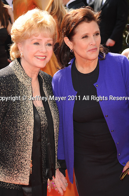 LOS ANGELES, CA - SEPTEMBER 10: Debbie Reynolds and Carrie Fisher attend the 2011 Primetime Creative Arts Emmy Awards at Nokia Theatre L.A. Live on September 10, 2011 in Los Angeles, California.