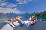 Boating on Lake McDonald, gem of Glacier National Park in the U.S. State of Montana, at ten miles long and over a mile wide is the largest lake in the park.