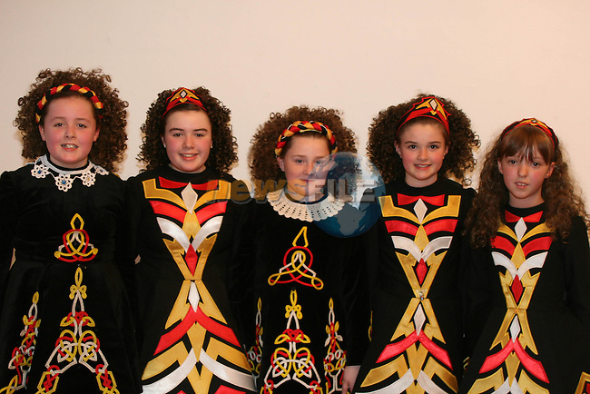 Sarah Kierans, Emma Kierans, Lauren Sheilds, Clodagh Ryan and Tamara Martin from the Lolo Robinson School of Irish Dancing at  'Dance by the Boyne' in the Droichead Arts Centre...Photo NEWSFILE/Jenny Matthews.(Photo credit should read Jenny Matthews/NEWSFILE)....This Picture has been sent you under the condtions enclosed by:.Newsfile Ltd..The Studio,.Millmount Abbey,.Drogheda,.Co Meath..Ireland..Tel: +353(0)41-9871240.Fax: +353(0)41-9871260.GSM: +353(0)86-2500958.email: pictures@newsfile.ie.www.newsfile.ie.FTP: 193.120.102.198.