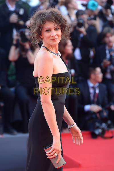 Ksenia Rappoport<br /> attending the Closing Ceremony of the 70th Venice International Film Festival at Palazzo del Cinema in Venice, Italy, September 7th 2013.<br /> half length black dress one shoulder strap long maxi slit split silver clutch bag side <br /> CAP/ZZG<br /> &copy;ZZG/Capital Pictures