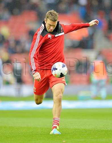 15.09.2013 Southampton, England.    Rickie Lambert of Southampton warms up ahead of the Premier League game between Southampton and West Ham United from St Mary's Stadium.