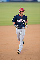 David Masters (7) of the Hagerstown Suns rounds the bases after hitting a home run against the Kannapolis Intimidators at CMC-Northeast Stadium on July 19, 2015 in Kannapolis, North Carolina.  The Suns defeated the Intimidators 9-4.  (Brian Westerholt/Four Seam Images)