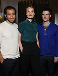 "Jake Gyllenhaal, Carrie Cracknell and Tom Sturridge during ""Sea Wall/A Life"" Cast Photo Call at Dream Hotel on June 5, 2019 in New York City."