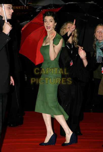 "RACHEL WEISZ.London Film Festival UK Premiere of ""The Constant Gardener"", opening night gala, London, UK..October 19th, 2005.Ref: AH.full length green dress mouth open black shoes funny.www.capitalpictures.com.sales@capitalpictures.com.© Capital Pictures."