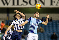 Dan Rowe of Wycombe Wanderers during the Checkatrade Trophy round two Southern Section match between Millwall and Wycombe Wanderers at The Den, London, England on the 7th December 2016. Photo by Liam McAvoy.