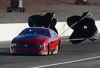 Oct. 26, 2012; Las Vegas, NV, USA: NHRA pro mod driver Steve Matusek during qualifying for the Big O Tires Nationals at The Strip in Las Vegas. Mandatory Credit: Mark J. Rebilas-