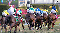 HALLANDALE BEACH, FL - MAR 31:Hi Happy (ARG) #3 trained by Todd A. Pletcher with Luis Saez in the irons heads the field down the home stretch in the 57th running of The Pan American Stakes (G2) at Gulfstream Park on March 31, 2018 in Hallandale Beach, Florida. (Photo by Bob Aaron/Eclipse Sportswire/Getty Images)