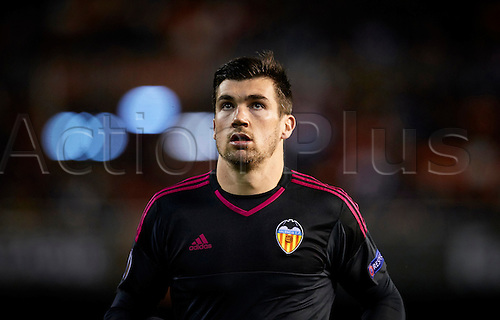 18.02.2016. Mestalla Stadium, Valencia, Spain. Europa League. Valencia versus Rapid Wien. Goal Keeper Mathew Ryan oF Valencia CF looks on