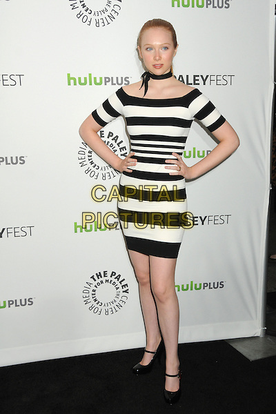 "Molly Quinn.PaleyFest 2012 Presents ""Castle"" held at The Saban Theatre, Beverly Hills, California, USA, 9th March 2012..full length hands on hips dress off the shoulder  black white striped .CAP/ADM/BP.©Byron Purvis/AdMedia/Capital Pictures."