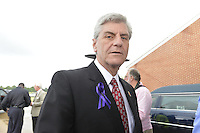 """5/30/15 Indianola   Mississippi Governor Phil Bryant arrives to B B Kings funeral at the Bell Grove Missionary Baptist Church. """"See That My Grave Is Kept Clean"""" one of BB Kings famous songs forecast his funeral procession complete with two white horses and a black horse flanked with two signed Gibson guitars. Fans lined the street to see B.B. Kings final homecoming and pay their respect. Photo ©Suzi Altman"""