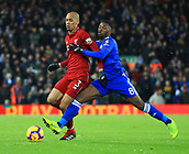 30th January 2019, Anfield, Liverpool, England; EPL Premier League football, Liverpool versus Leicester City; Fabhino  of Liverpool shields the ball from Kelechi Iheanacho of Leicester City
