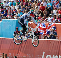 Shanaze Reade (GBR) on her way to the final..Womens BMX.BMX Track.Olympic Park.Olympics 2012.London UK. .10/08/12,.photo: Sean Ryan / IPS Photo Agency.. mobile: 07971 400 939.Address: Thatched Cottage,Wretham,Thetford, Norfolk IP24 1RH .Office tel: 01953 499 403...