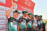 Bora-Hansgrohe at sign on before Stage 3 The Emirates Stage of the UAE Tour 2020 running 184km from Al Qudra Cycle Track to Jebel Hafeet, Dubai. 25th February 2020.<br /> Picture: LaPresse/Massimo Paolone   Cyclefile<br /> <br /> All photos usage must carry mandatory copyright credit (© Cyclefile   LaPresse/Massimo Paolone)