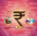 Rupee sign balancing business management