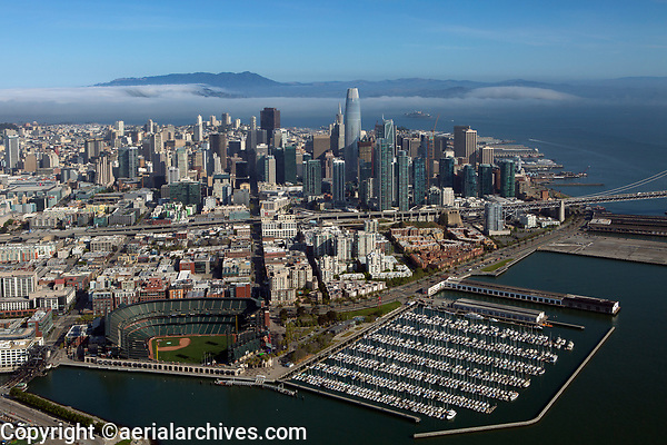 aerial photograph the San Francisco financial district skyline with