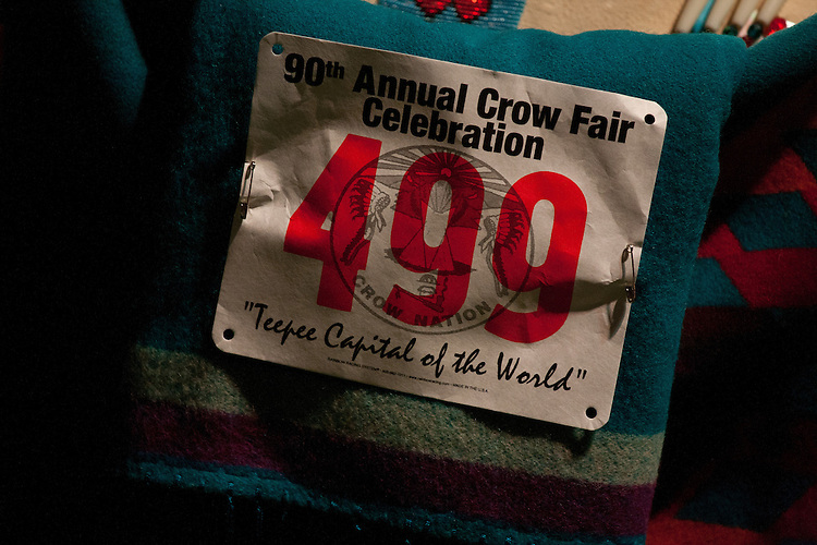A contestants entry number for the dance competition at Crow Fair.