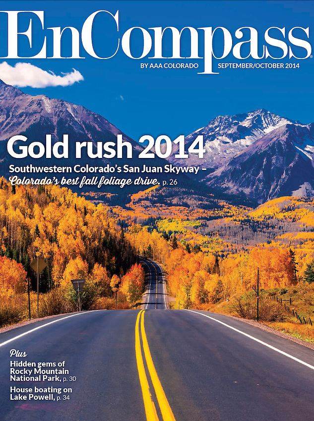 September/October 2014 cover of AAA EnCompass Magazine. Photo by Blaine Harrington III, shot near Telluride, Colorado USA.